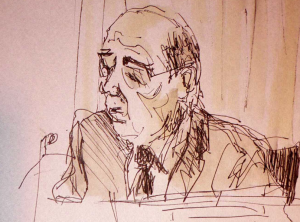 Sketch of Sir Brian Leveson by Isobel Williams www.isobelwilliams.org.uk